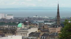 Edinburgh City Skyline With The Scot Monument Stock Footage