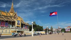 Asian Royal Palace (Cambodia) with Flag - stock footage