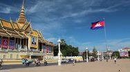 Stock Video Footage of Asian Royal Palace (Cambodia) with Flag