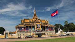 Royal Palace in Asian Capital (Phnom Penh, Cambodia) Stock Footage