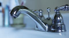 Leaky bathroom faucet. Stock Footage