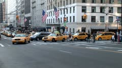WorldClips-NYC Cabs Turning Left-ws-zoom Stock Footage