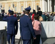 Papal Mass 2001 - pilgrims at entrance - stock footage
