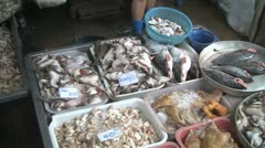 Food for sale at the MaeKlong rail track market Stock Footage