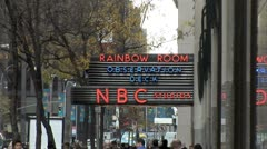 WorldClips-NYC-Rainbow Room Sign-zooms Stock Footage