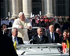 Pope John Paul II in 2001 at St Peters, before a Papal Mass Stock Footage