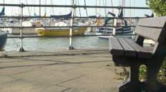 Empty Bench at Windy Harbour Stock Footage