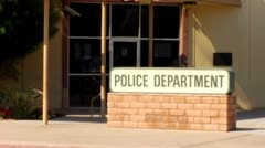 Generic Police Department Sign and Entrance Zoom Stock Footage
