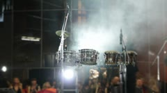 Drum set at concert Stock Footage