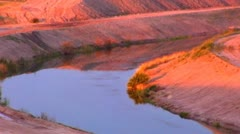 Irrigation Canal In Desert at Dawn Stock Footage