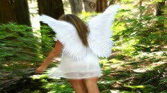 Angel In Heavenly green forest with mystic lights Stock Footage