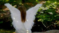 Beautiful Angel Sitting In Heavenly Forest Stock Footage