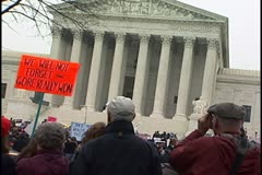 Supreme Court with protest - Gore Really Won Stock Footage