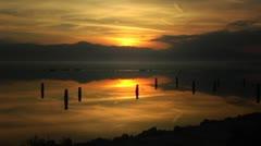 Mountain Lake Salton Sea Golden Sunset 2 Stock Footage