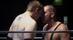 Pro wrestlers face to face showdown in ring Stock Footage