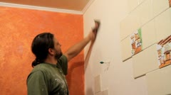 Master prepares for the plaster wall. Stock Footage