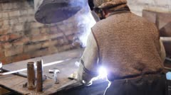 Welder at work Stock Footage