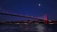 Moon glow in Bosporus, Istanbul - stock footage