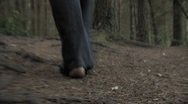 Stock Video Footage of Walking barefoot through woodland POV HD