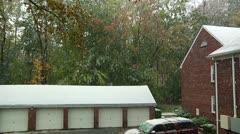 FSF05-Fall's snow precipitation in NJ, 2011: condo's garage area snow covered Stock Footage