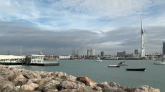 Gosport Ferry Terminal and Portsmouth - stock footage