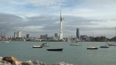 Portsmouth Harbour and Spinnaker Tower Stock Footage