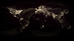 Glowing Network Lines Lighting Up World Map (Gold Version) HD - stock footage
