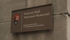 Federal Hall Sign Stock Footage