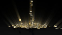 Euro coins falling and being hit by word Taxes Stock Footage