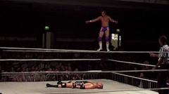Pro wrestling - Swanton bomb off top rope, front flip - stock footage