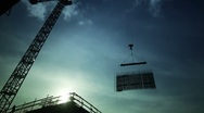 Stock Video Footage of Modern Ironworkers Rigging Below Crane, Time Lapse