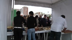 Sunday market. Sicilian chees and sausages. F.lli IRACI Stock Footage
