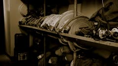 Fire house hose room inside fire station organization clean firefighter Stock Footage