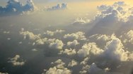 Stock Video Footage of Flying into the clouds in sunset