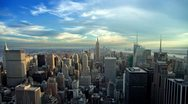 Stock Video Footage of Manhattan New York City with Empire State Building from Day to Night