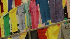 Shirts Clothesline Project Abuse college P HD 8491 Stock Footage