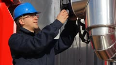 Man working in a power plant Stock Footage