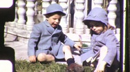 Stock Video Footage of Brother and Sister Circa 1950 (Vintage Film Home Movie) 1142