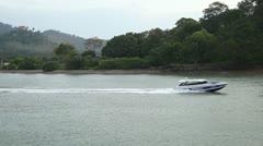 Fishing Boat in Phuket Island, Amazing Thailand, Enter or Leaving Harbor, Port Stock Footage