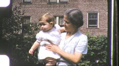 Woman Grandmother Holding Grandchild Cute Baby1940s Vintage Film Home Movie 1145 Stock Footage