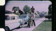 DANGEROUS STUNT 3 GUYS RIDE Motorcycle JACKASS 1960 Vintage Film Home Movie 1147 Stock Footage