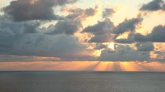 "Sunset with ""god rays"" - stock footage"
