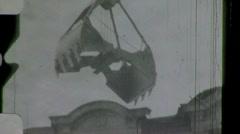 Men Knocking Down Old Building Demolition 1960d Vintage Film Home Movie 1148 - stock footage