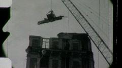 Men Knocking Down Old Building Demolition 1960d Vintage Film Home Movie 1149 - stock footage