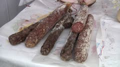 Sicilian sausages on Sunday Market. Stock Footage