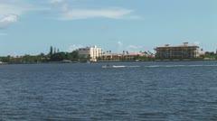 WorldClips-Inland Waterway Waverunner-pan-zoom Stock Footage
