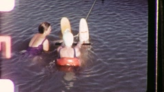 WATER SKI LESSONS Girl Learns Summer Sport 1950s Vintage Film Home Movie 1157 Stock Footage