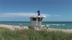 WorldClips-Palm Beach Lifeguard Hut Stock Footage