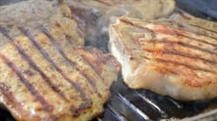 Pork chop grilled Stock Footage