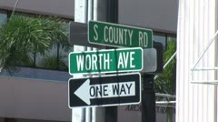 Stock Video Footage of WorldClips-Worth Ave-S county Road Sign